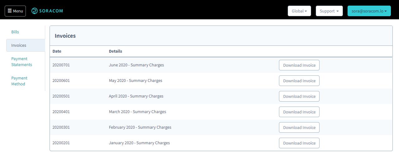 Billing Information Soracom Developers